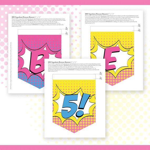 Superhero GIRL Birthday Banner Custom Name Printable Party Decoration DIY De