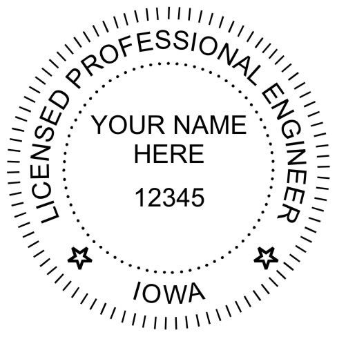 "The #seal shall include: the name of the licensee, the #Iowa license number, the word ""Iowa"" and the words Professional #Engineer.  Seal diameter is typically 1 5/8"", generally set up as shown here."