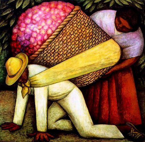 Diego Rivera - Cargador de flores (1935). Mexicanidad. Óleo y ...