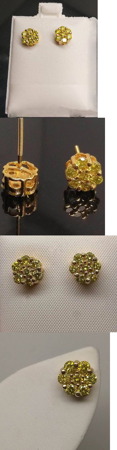 Earrings Studs 14085 10k Yellow Gold 1ct Round Canary Diamond Flower Cer Earring Men Women It Now Only 549 99 On Ebay