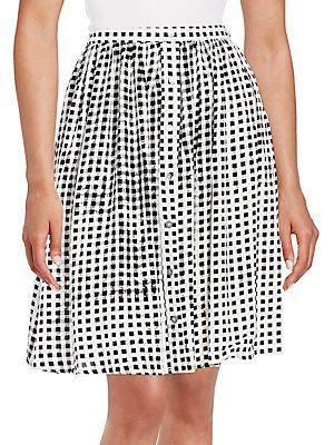 MINKPINK Check Print Gathered Skirt - Black - White - Size L