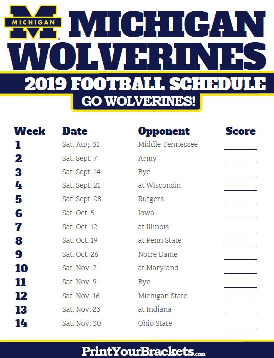 Michigan Wolverines 2019 Schedule 2019 Michigan Wolverines Football Schedule | Printable College
