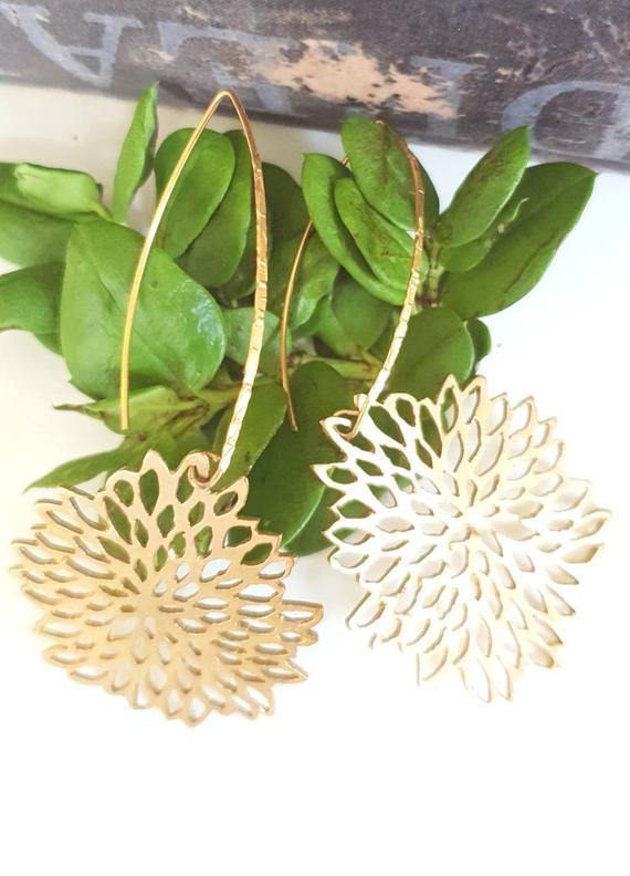 Long gold leaf earrings. Statement leaf earrings. Big nature inspired earrings. handmade drop earrings.  Dangle gold leaf. Bridal earrings.
