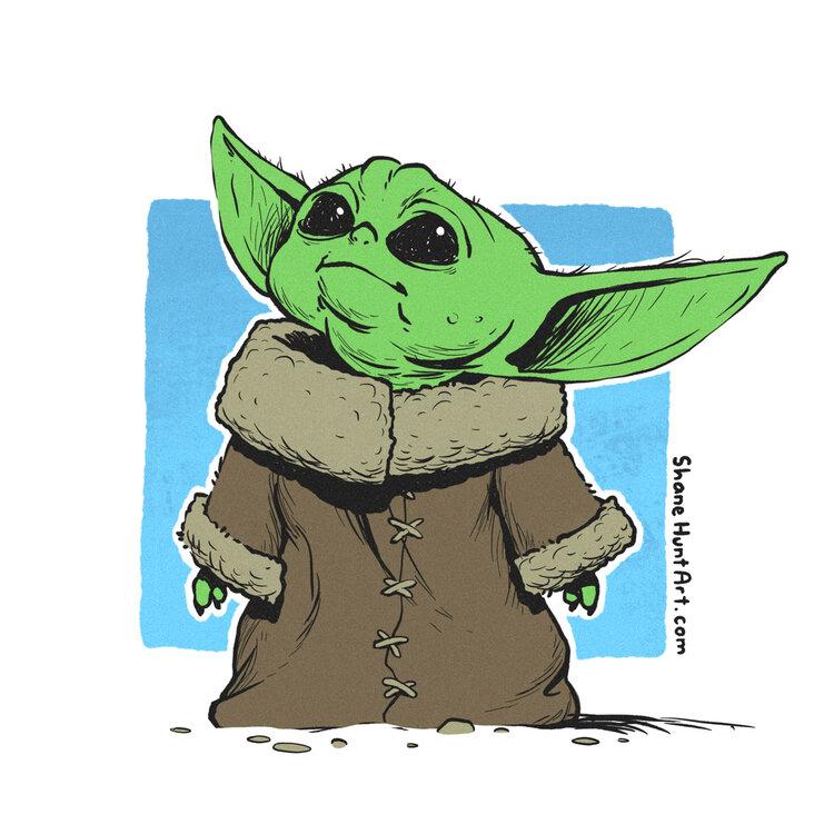 8x8 Print Baby Yoda Shane Hunt Art Yoda Drawing Yoda Art Star Wars Drawings