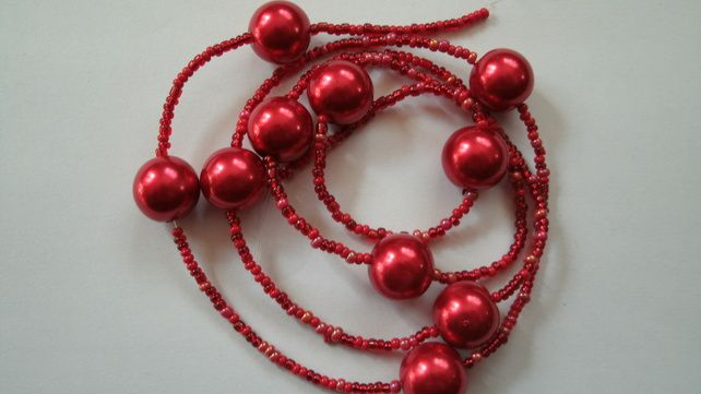 Bead string. Giant red pearl queen mix. £1.89