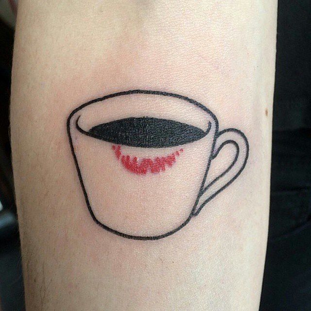 Fantastic Coffee Cup Tattoo On leg For Girl | Cup tattoo