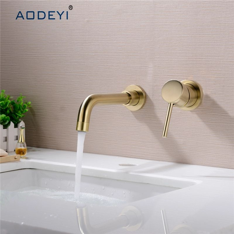 White Painting Bathroom Sink Mixer Faucet Basin Mount Tap with Handle Gold Decor