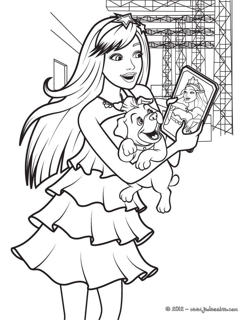 Coloriage de Barbie princesse et popstar avec sa photo et son petit ...