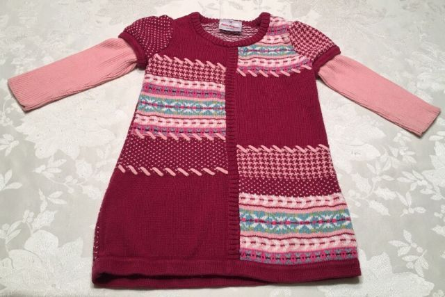 Hanna Andersson Sweater Dress Girls Size 90 2T Fair Isle Knit Pink ...