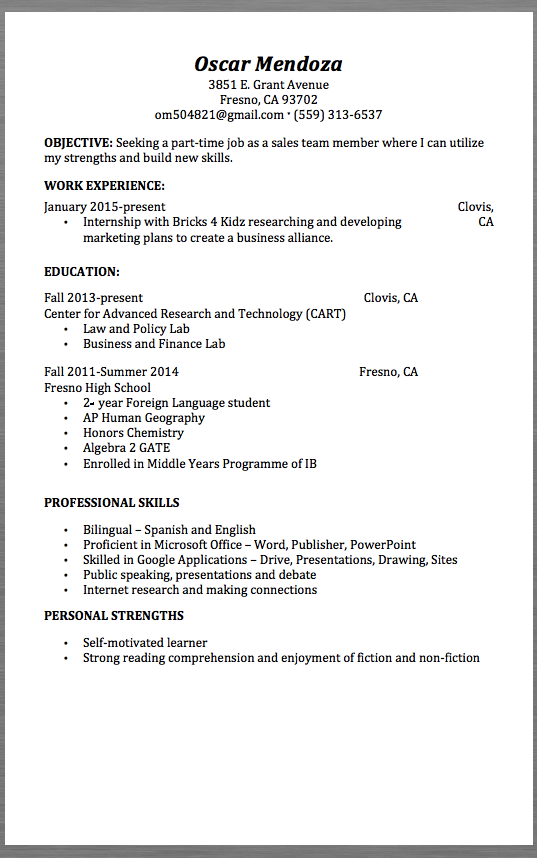resume personal strengths