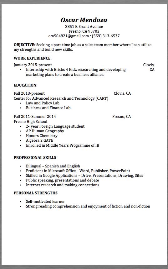 Resume For Part Time Job Sales Team Resume Example Oscar Mendoza 3851 Egrant Avenue
