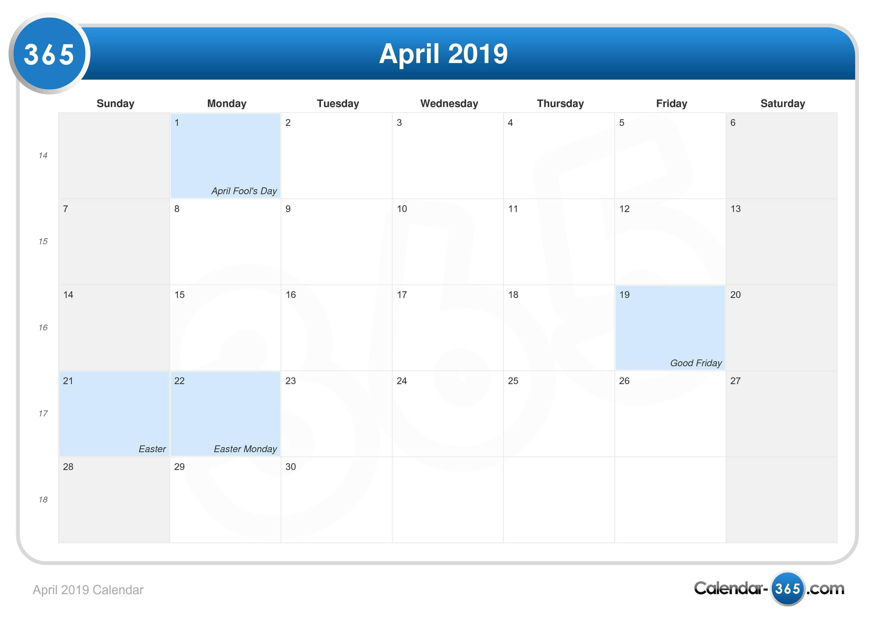 April 2019 Editable Calendar Monthly Calendar Printable Templates