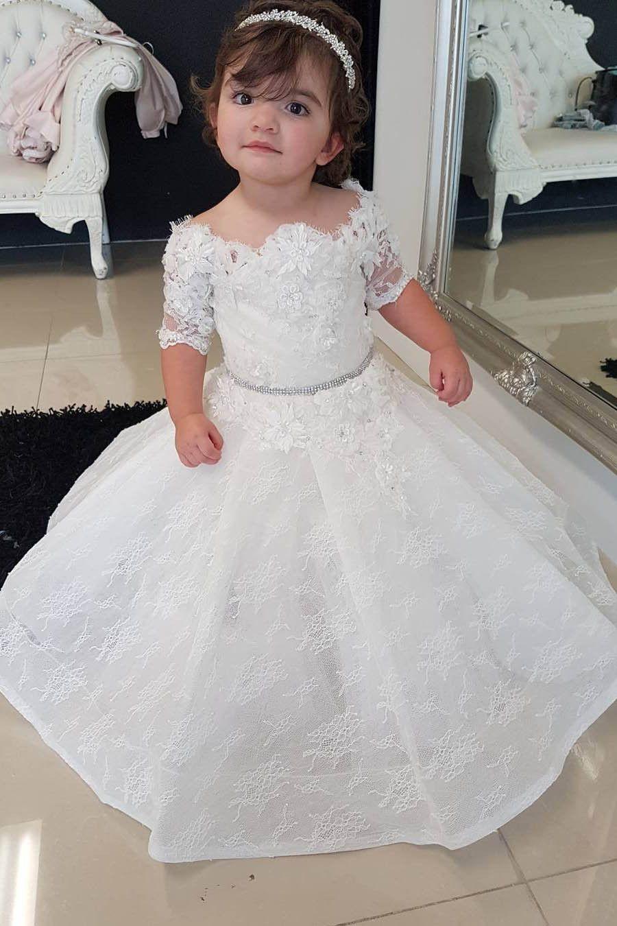 Half sleeves flower girl dresskid ball gownwhite fluffy lace