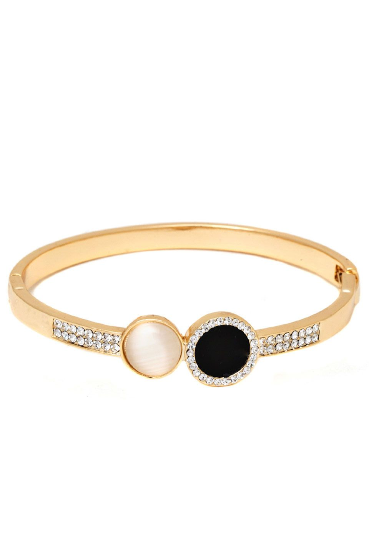 Sevil k gold plated black u white swarovski stone bangle