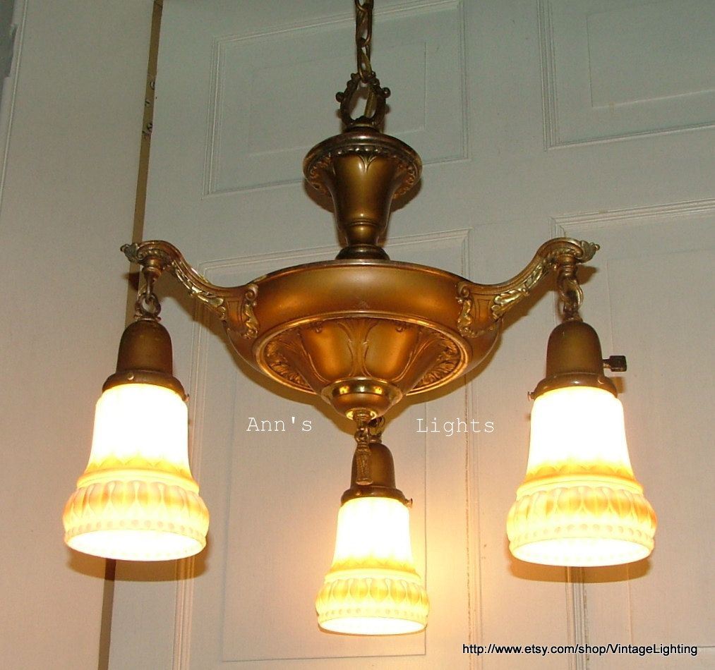 Antique lighting vintage art deco brass pan chandelier glass satin antique lighting vintage art deco brass pan chandelier glass satin shades 26800 via etsy arubaitofo Gallery
