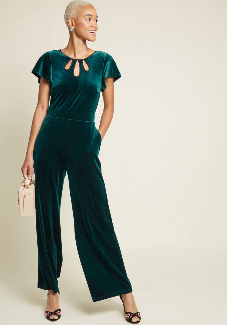 Mystery mastery velvet jumpsuit in xl long by modcloth in