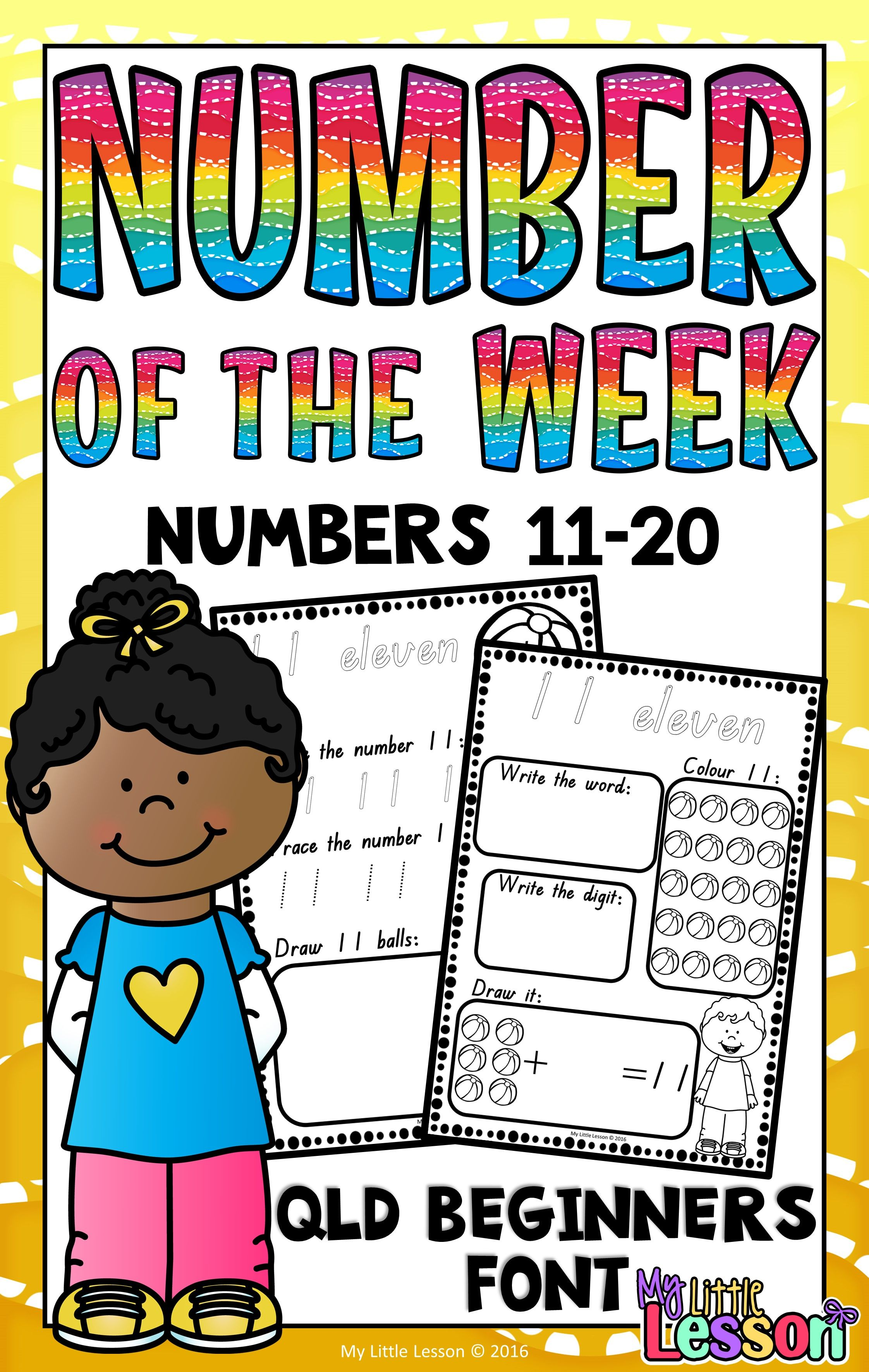 Numbers 11 20 Worksheets Qld Beginners Font