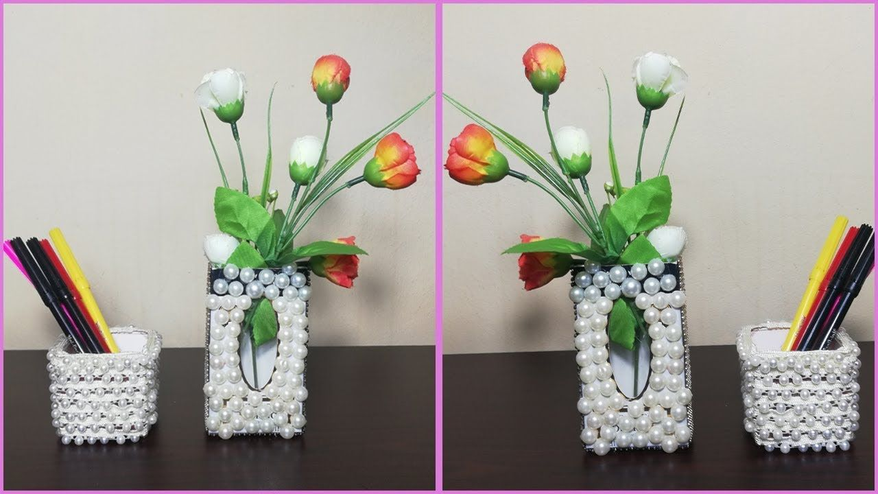 Diy Room Decor Craft Ideas Handicraft Flower Vase Idea With Empty Box In 2020 Decor Crafts Handicraft Diy Room Decor