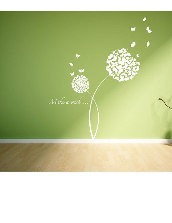 butterfly dandelion clock wall decal. vinyl sticker for living room