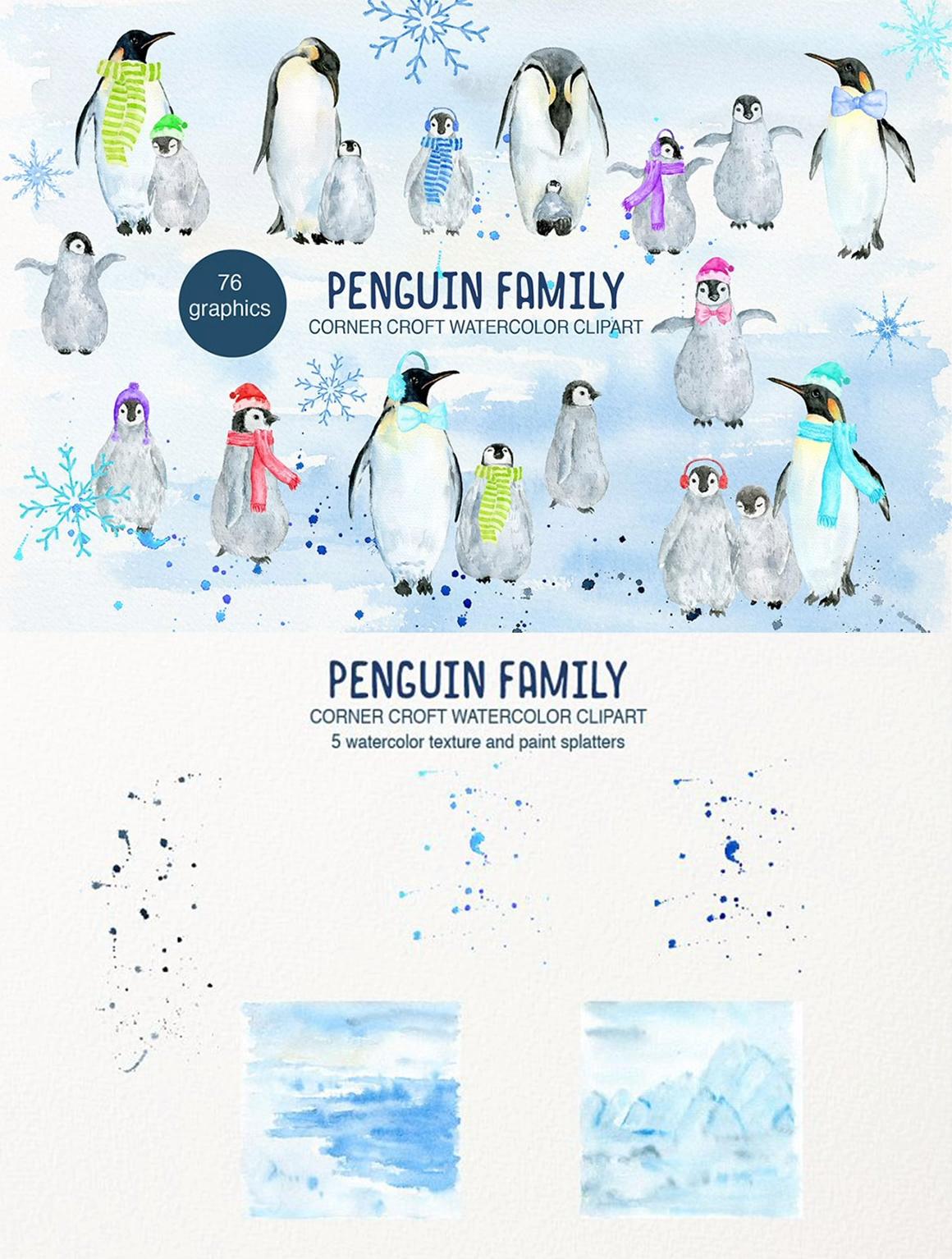 Watercolor Penguin Family Illustration Penguin Clipart 138280 Illustrations Design Bundles Video Video Penguin Illustration Family Illustration Clip Art