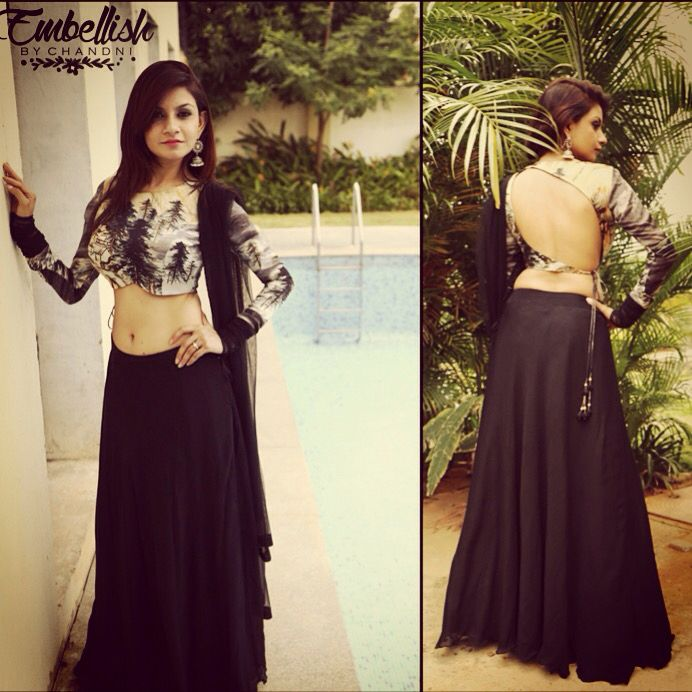 Black chiffon Lehnga with printed silk blouse, perfect for a night out | embellish by Chandni