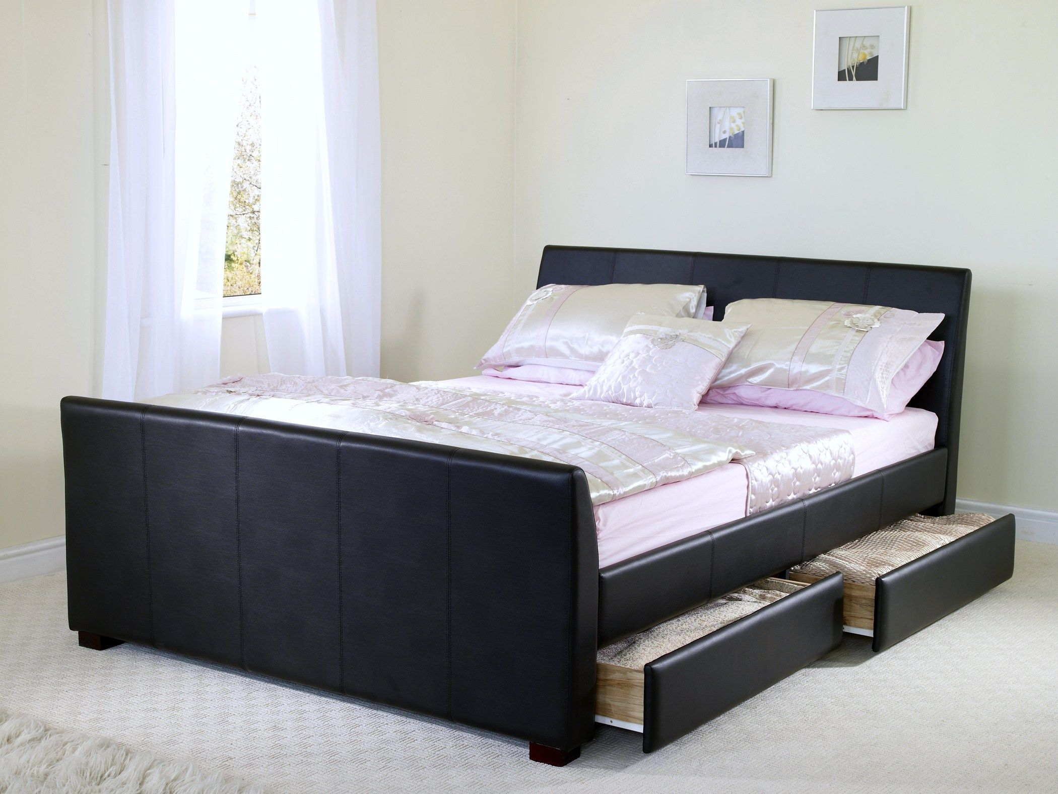 black leather wood bed frames with boxspring sandhurst brown double leather bed frame four - Double Bed Frame With Storage