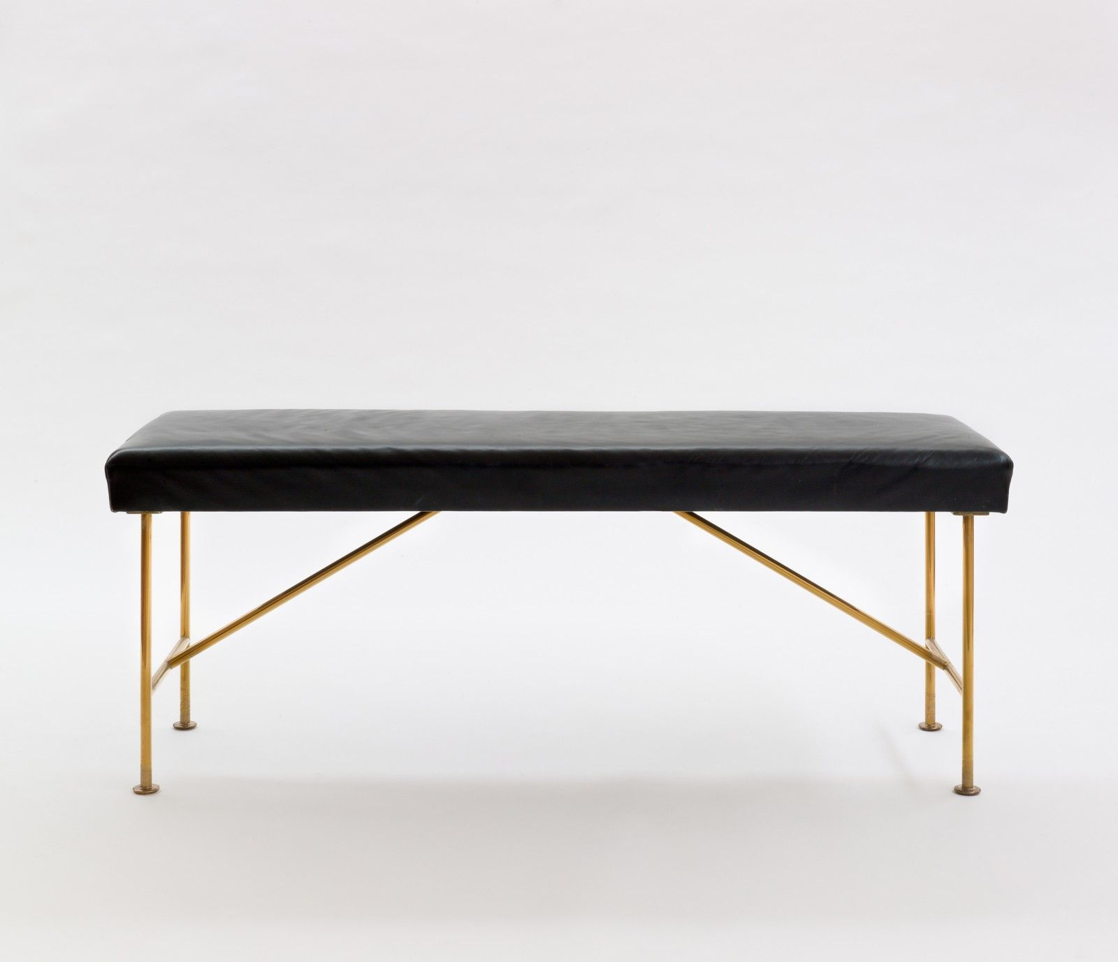 Alexander Girard Brass and Leather Piano Bench for Miller House