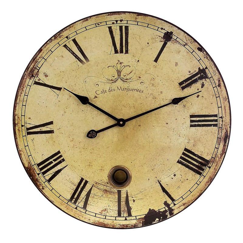 Imax Home 2511 23 Diameter Vintage Style Wall Clock With Pendulum Home Decor Accents Clocks Pendulum Wall Clock Clock Wall Decor Wall Clock