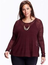Old Navy Women's Plus Red Wine Burnout Swing Top Size 4X