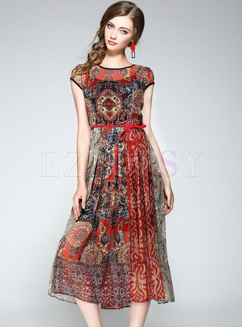 Vintage floral print big hem skater dress in dresses
