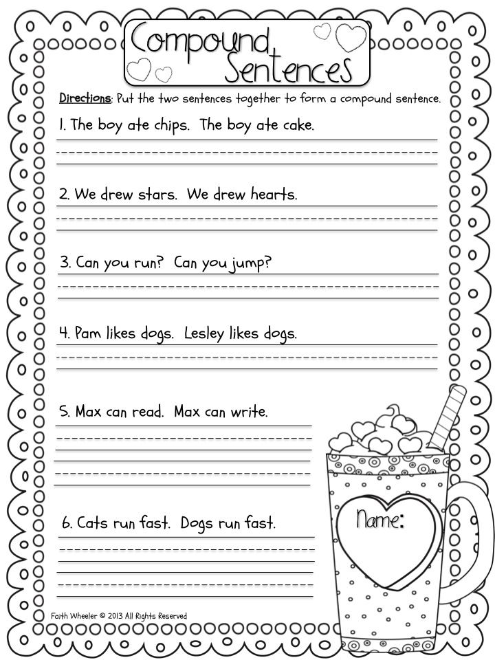 Punchy image throughout free printable worksheets on simple compound and complex sentences