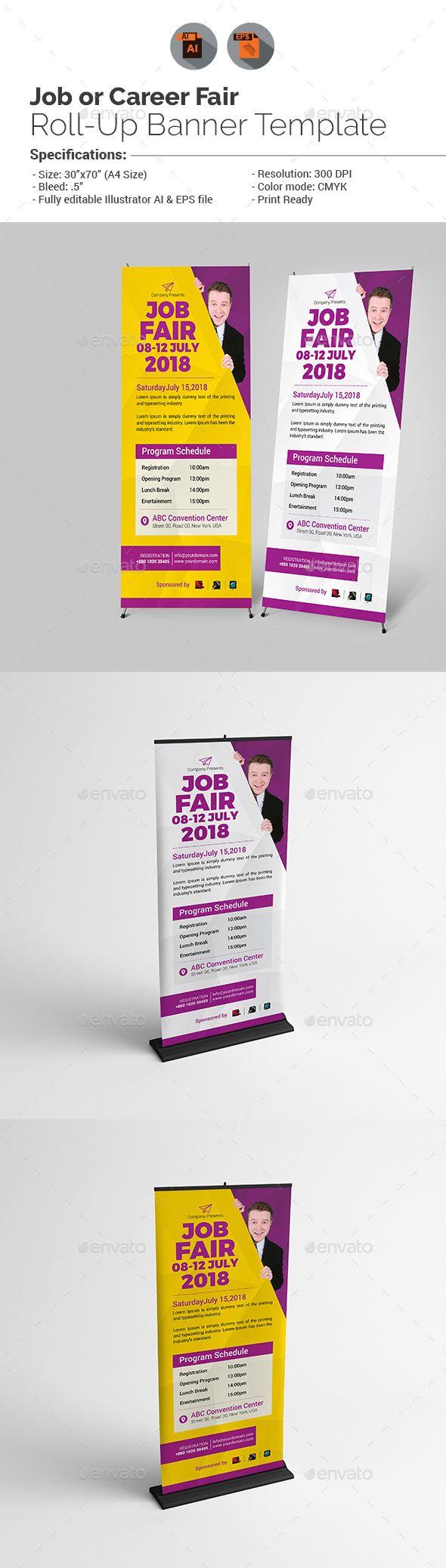 Banner design for job fair - Job Fair Roll Up Banner Template V1
