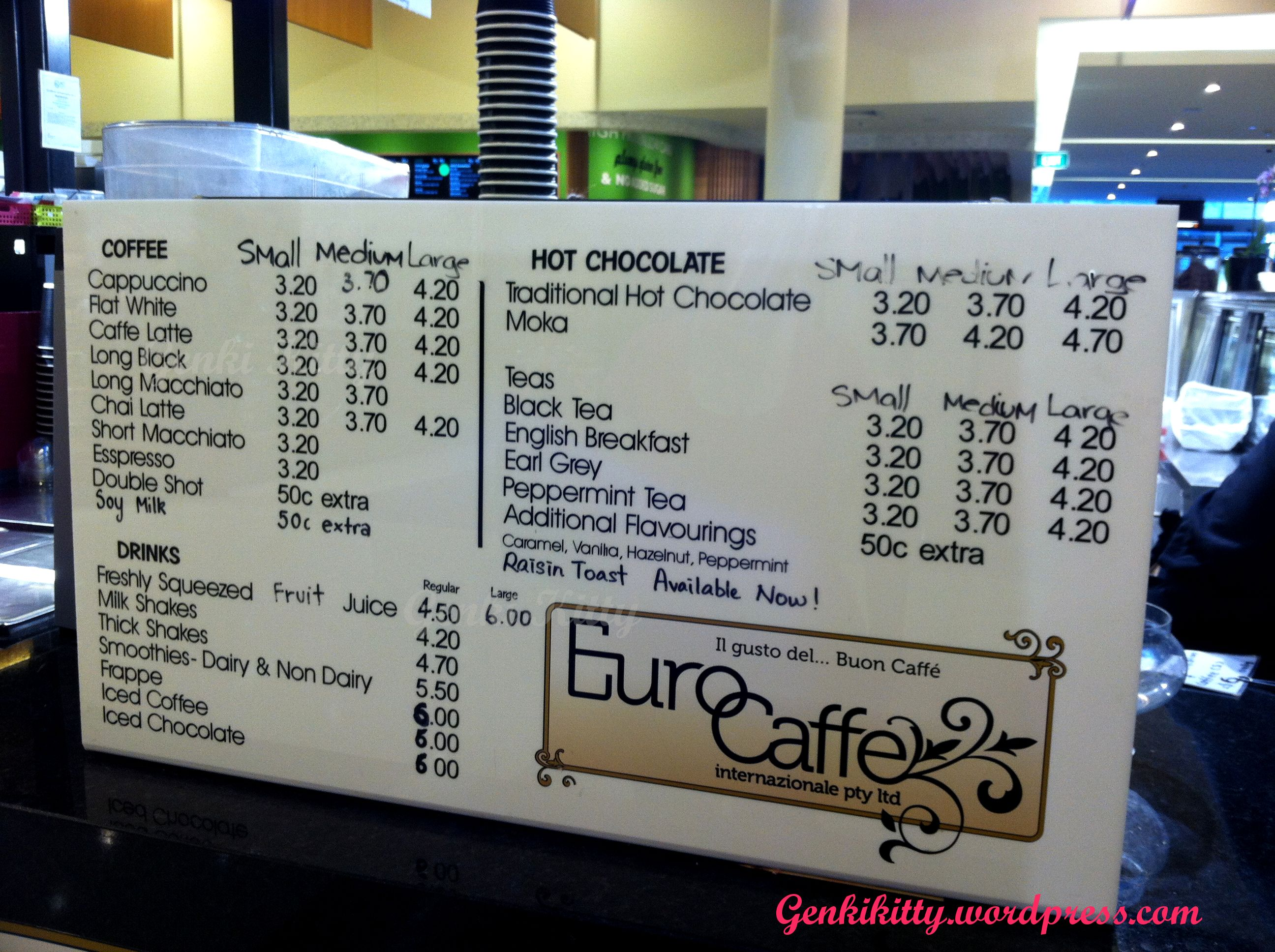 Menu Board from Nutmeg Coffee in Sydney, Australia area.