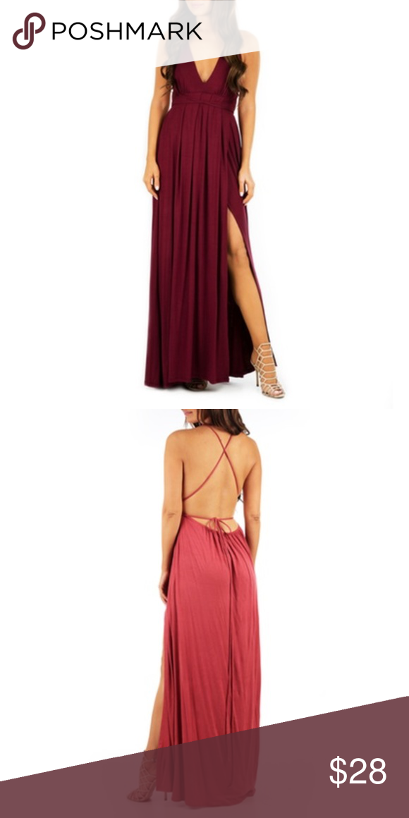 88e00e6bc5 NWT Wine Open-Back Maxi Dress with Front Slit Dress is new