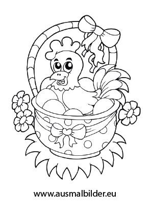 Ausmalbild Huhn Im Korb Coloring Books Easter Coloring Pages Easter Colouring