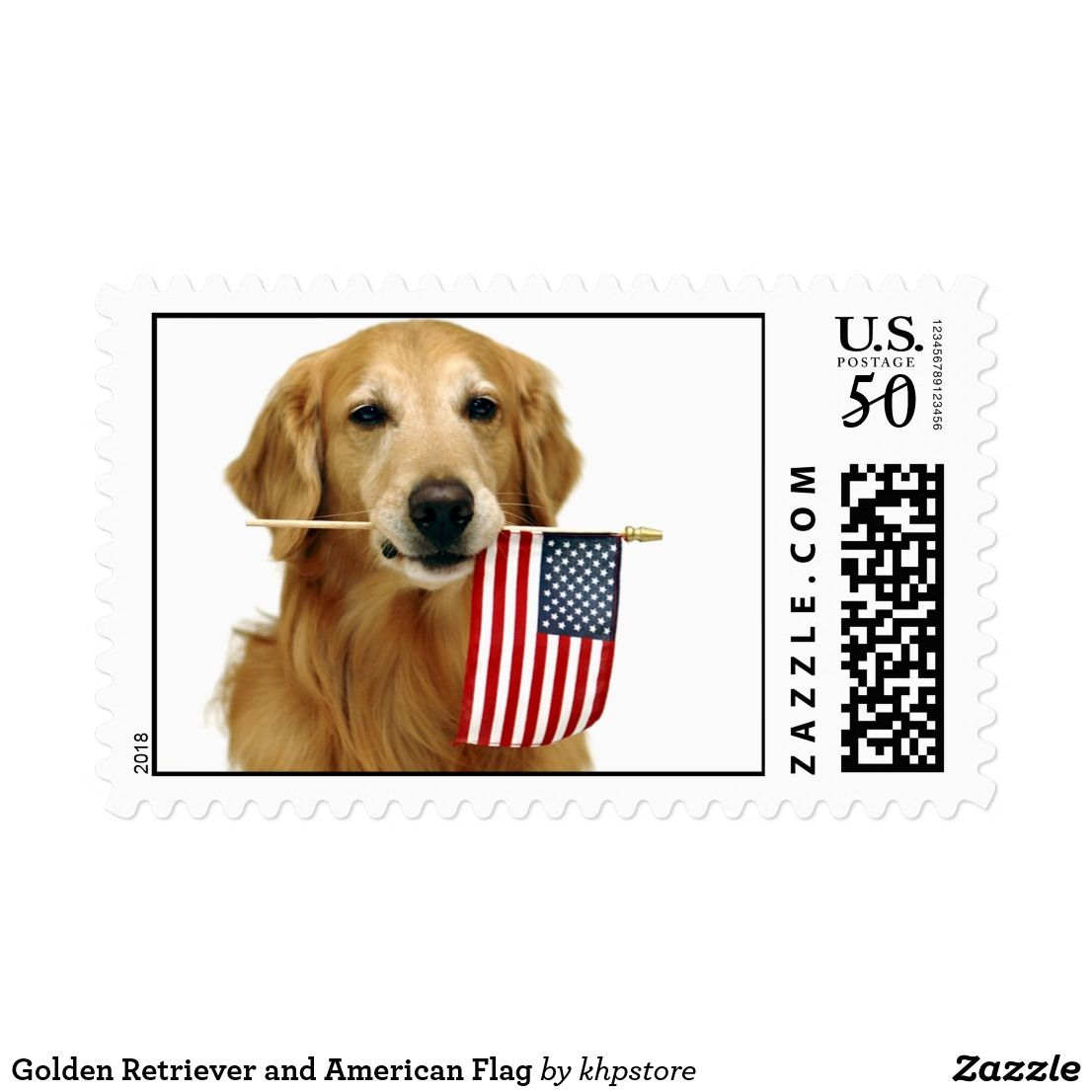 Golden Retriever And American Flag Postage Zazzle Com American