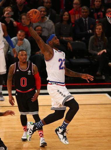 East forward LeBron James soars to the bucket for a