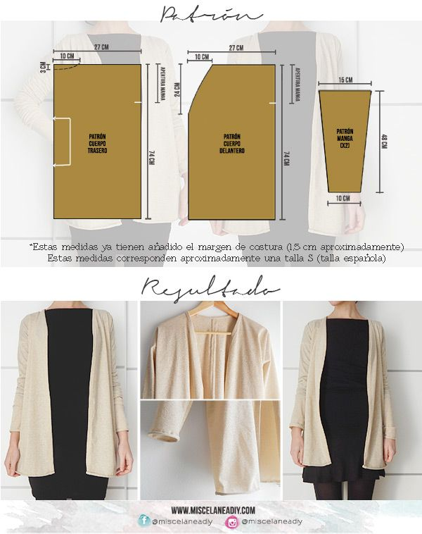 Patrón para hacer esta chaqueta, ¡muy fácil! | Costura | Pinterest ...