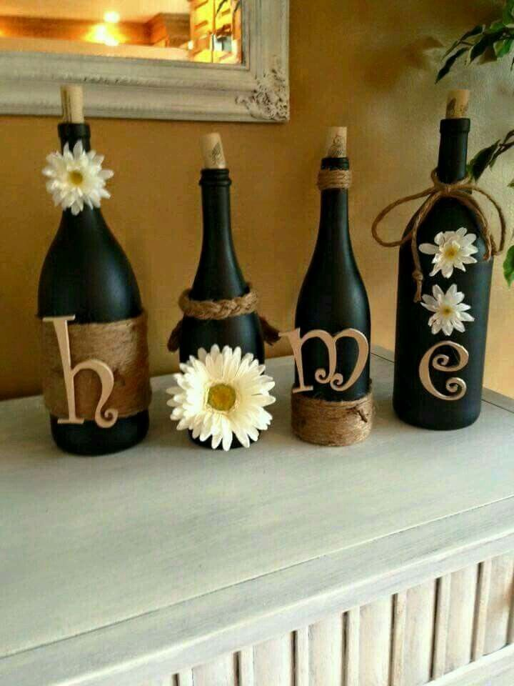 Wine Bottle Decorating Ideas Pinrosalind Hayes On Diy Ideas  Pinterest  Bottle Craft And