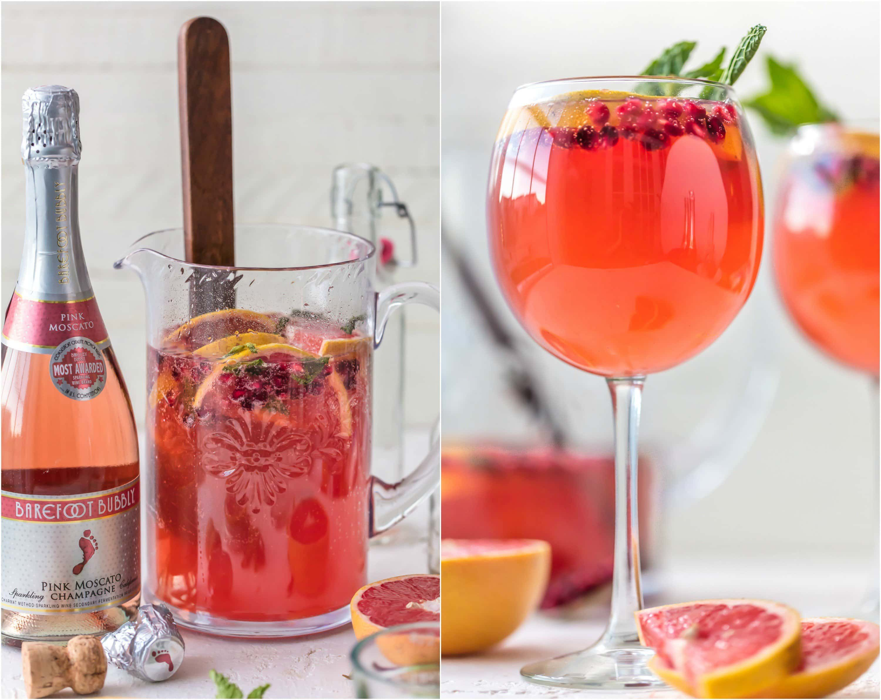 Pink Champagne Sangria Is The Perfect New Years Eve Cocktail Ring In The New Year With Style And Lemonade Recipes Watermelon Juice Recipe Watermelon Tequila