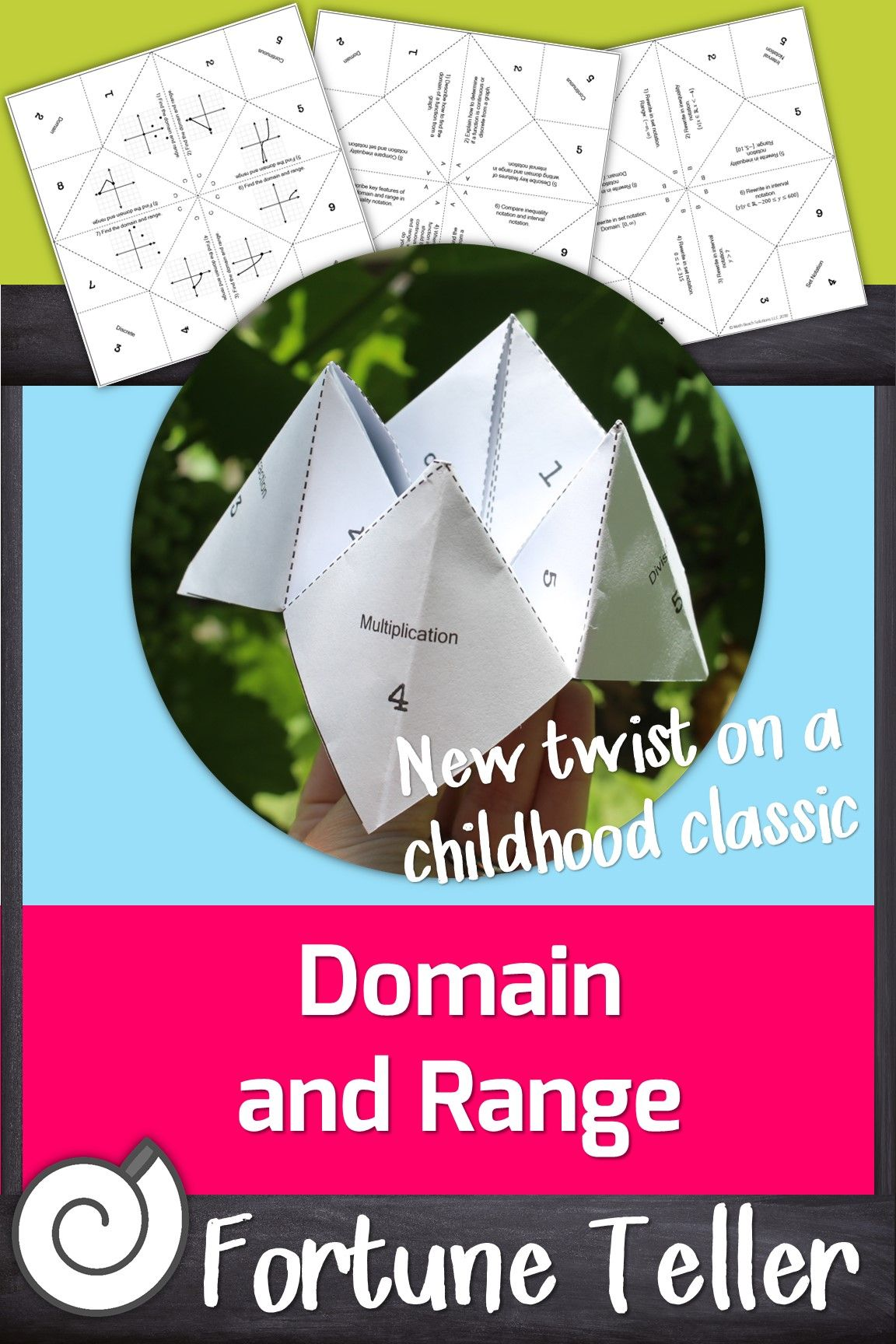Domain And Range Fortune Teller Activity