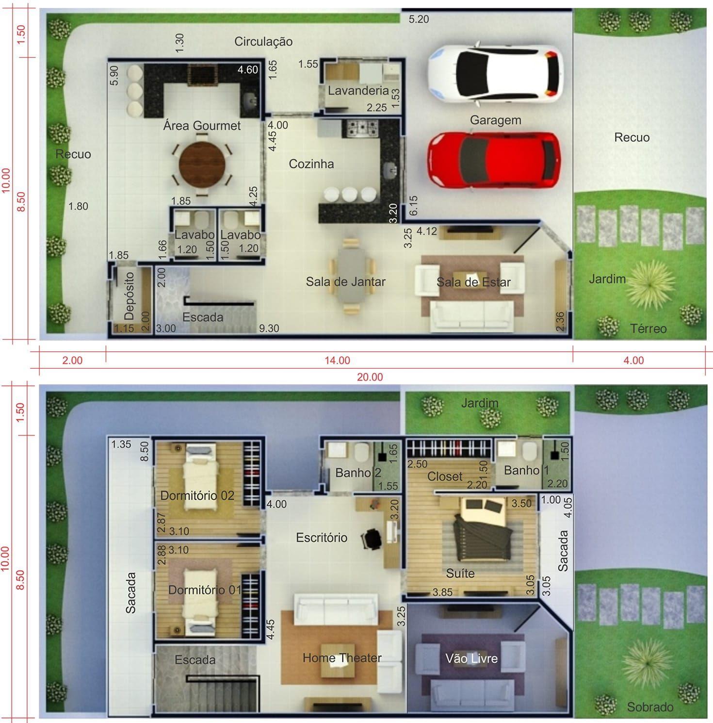 Planta de sobrado com varanda planta para terreno 10x20 for Planta de casa de dos pisos