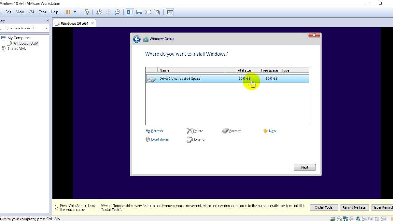 Install Windows 10 on VMware 2017 08 19 Window
