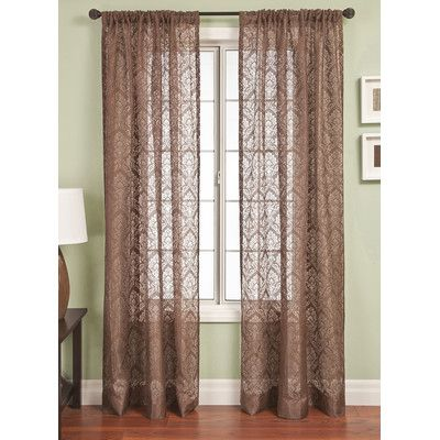Three Posts Geneseo Scroll Rod Pocket Single Curtain Panel Size ...
