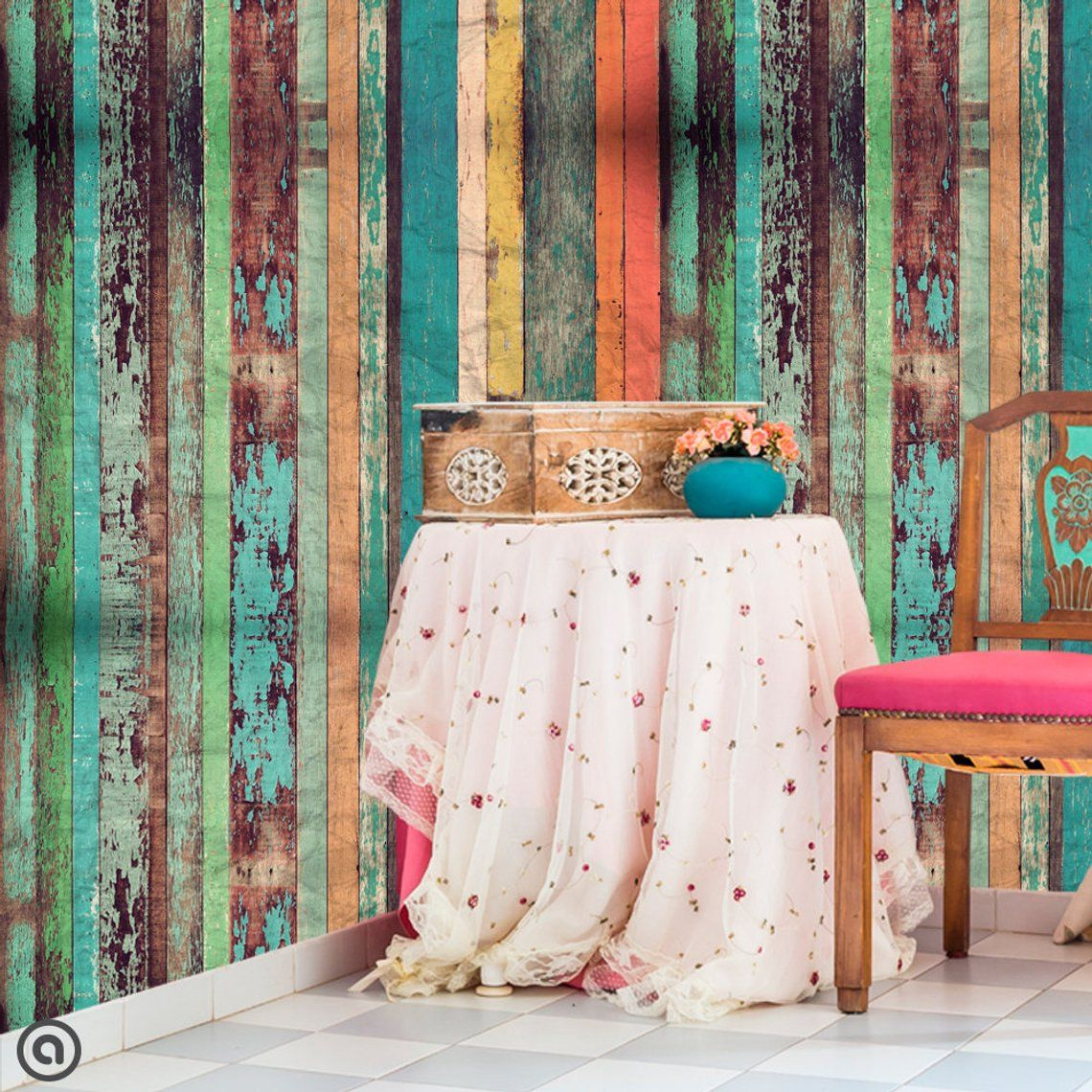 Peel and Stick Wallpaper BOAT HOUSE Removable Rustic Self