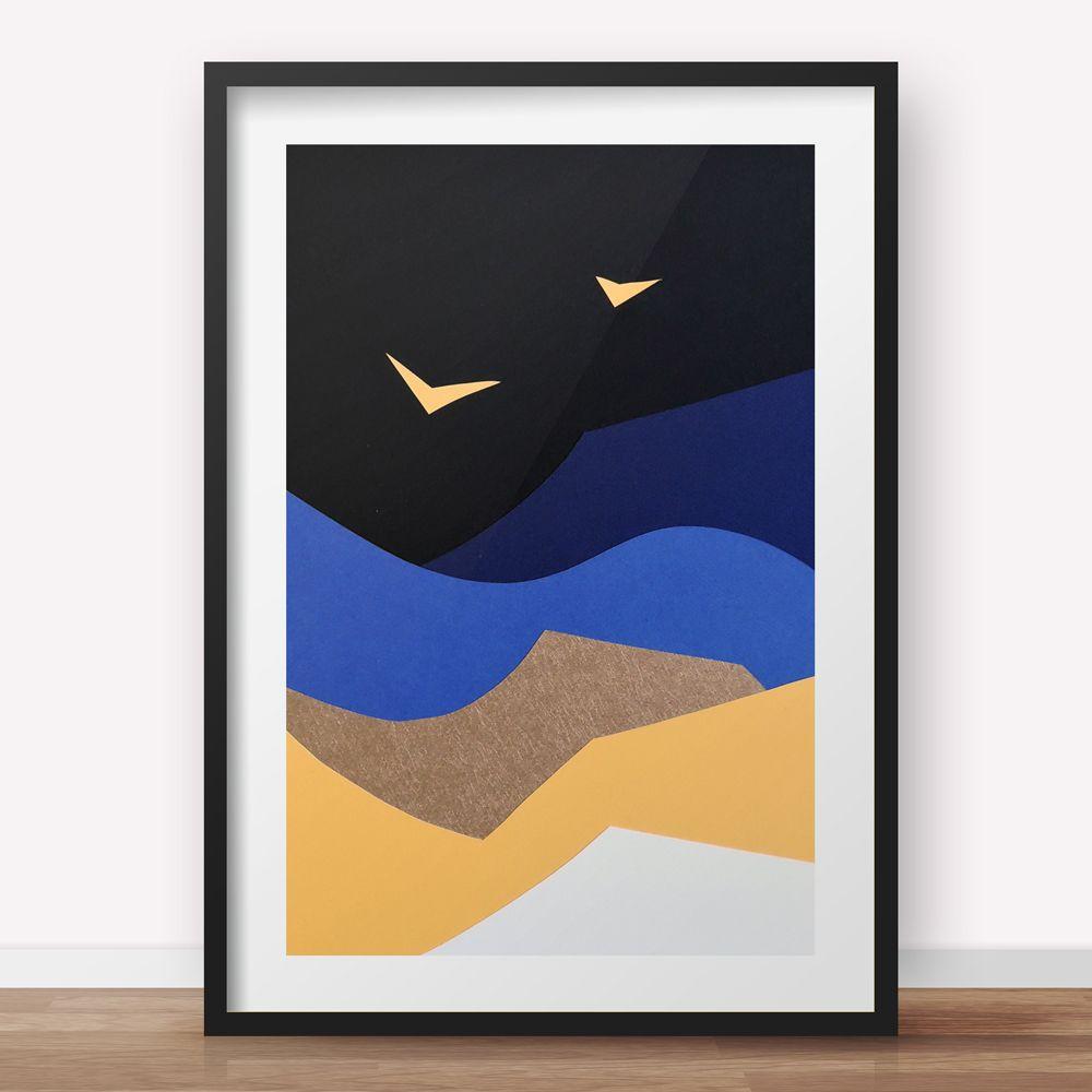 Night Bird - A3 Triptych - 3/3 - Abstract Papercut Landscape