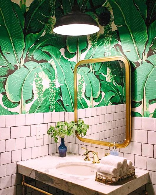 palme d'or Palm wallpaper, Bathroom wallpaper, Tropical