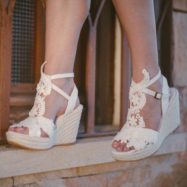 6659b948ef9 Ivory Lace Wedges Wedding Sandals Peep Toe Slingback Platform Sandals for  Party