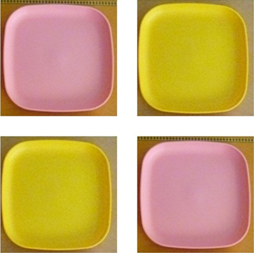 Tupperware Free Ship New 4 Dishes Square Classic Plates Raised Edges Pink Yellow & Tupperware Free Ship New 4 Dishes Square Classic Plates Raised Edges ...