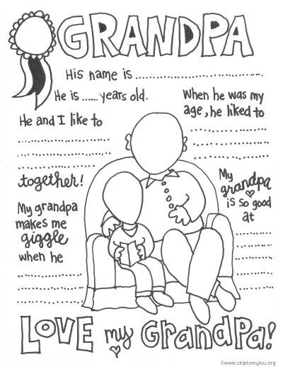Grandpa Coloring Page Grandparents Day Activities Fathers Day